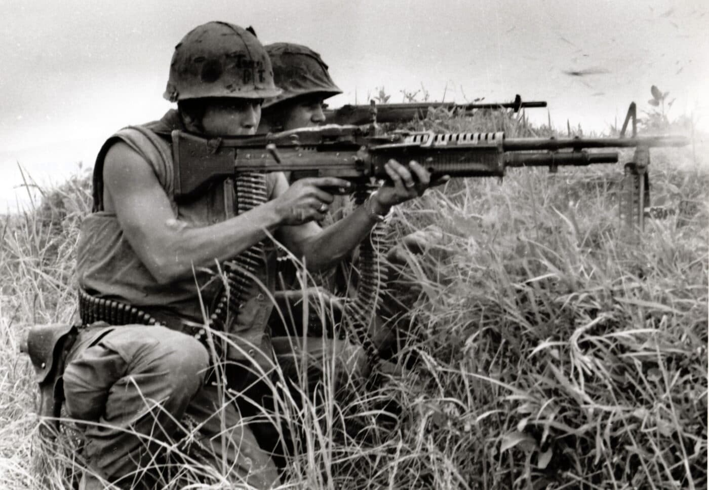 USMC M60 being used by solders in the DMZ between North and South Vietnam in May of 1967