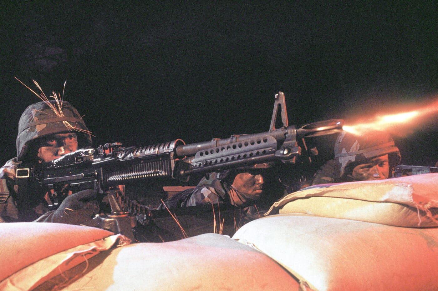 USAF airman firing M60