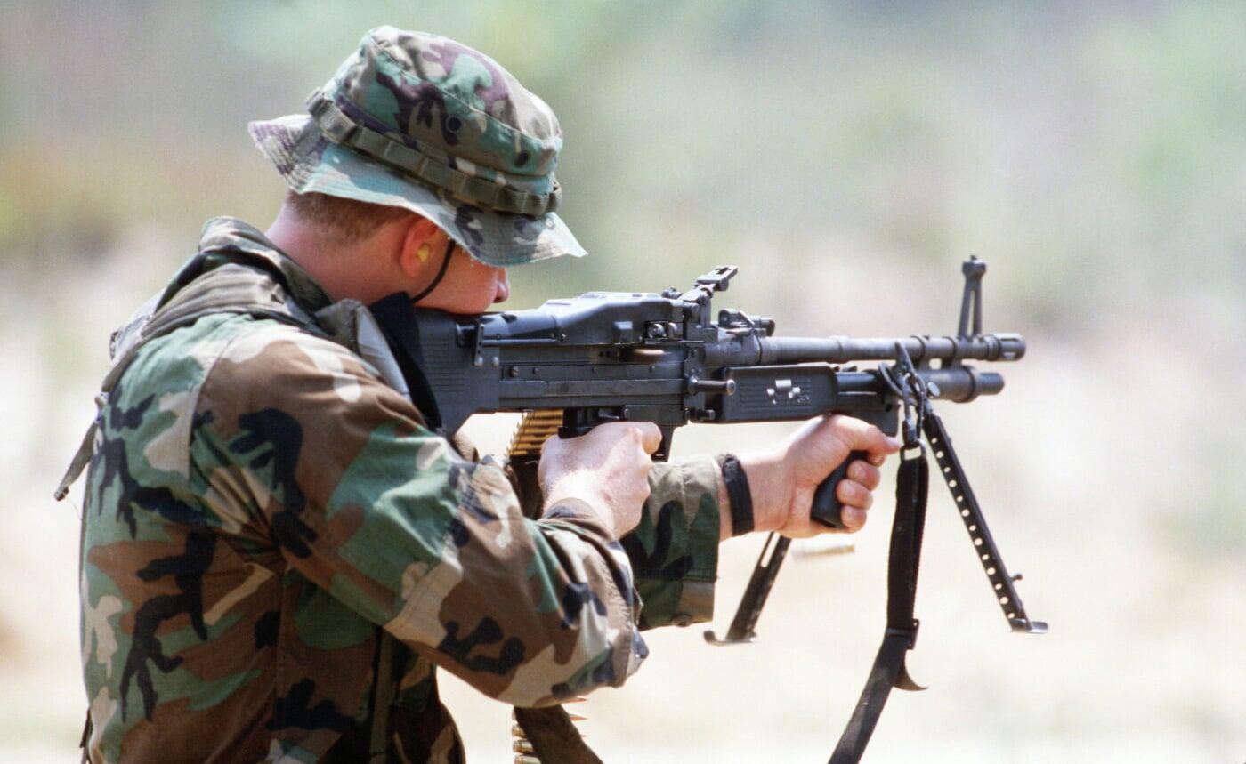 U.S. Navy SEAL firing M60 machine gun
