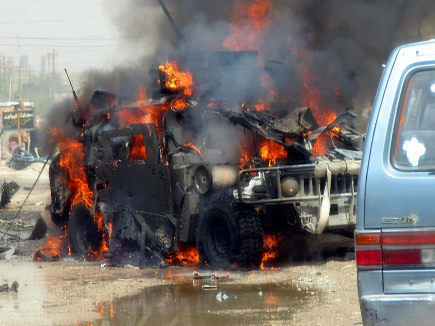 Avila's Humvee after being hit by IED