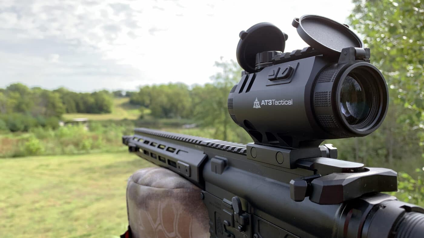 AT3 Tactical 3X Prism Scope mounted on SAINT rifle