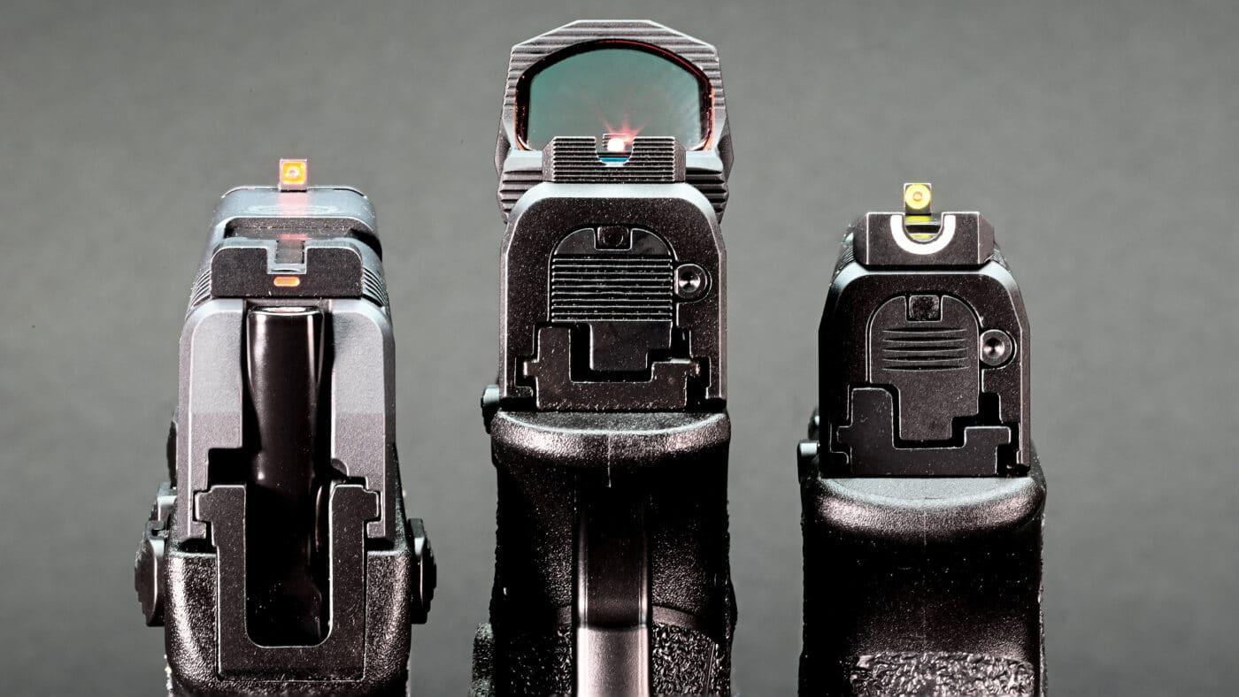 Various types of pistol sights