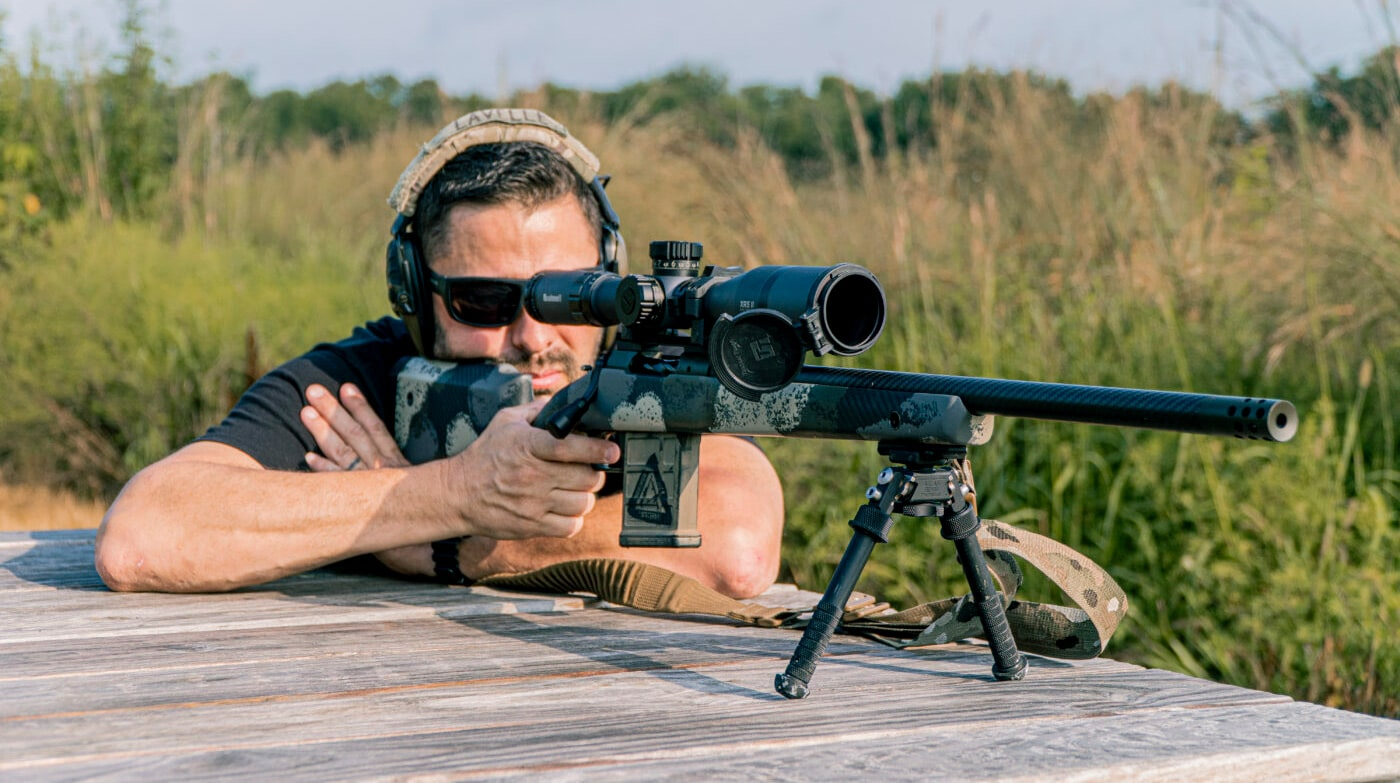 Man shooting a .308 WIN rifle with bipod