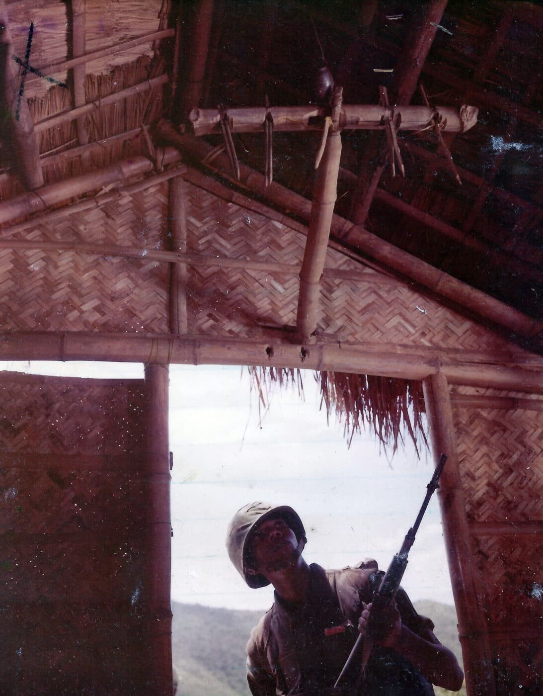 Deadfall trap demonstrated during the Vietnam War