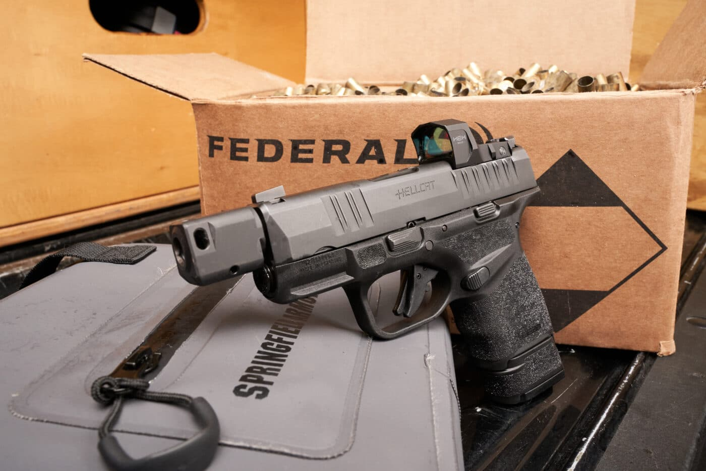 HEX Wasp optic on Hellcat pistol with federal ammo shot during testing