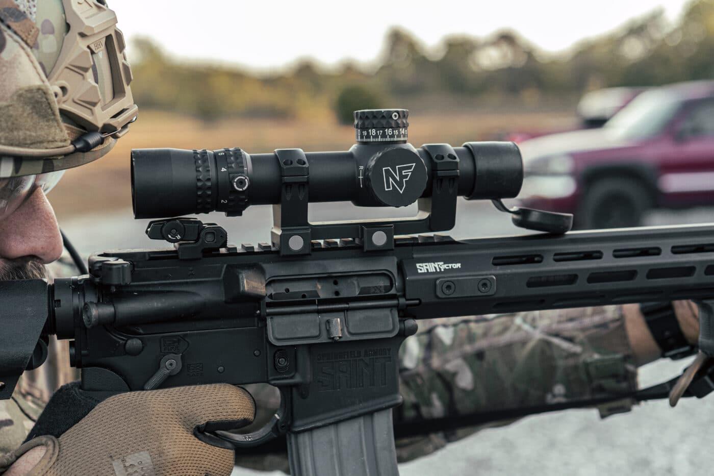 Solder using Nightforce scope mounted on a Springfield Armory SAINT AR-15