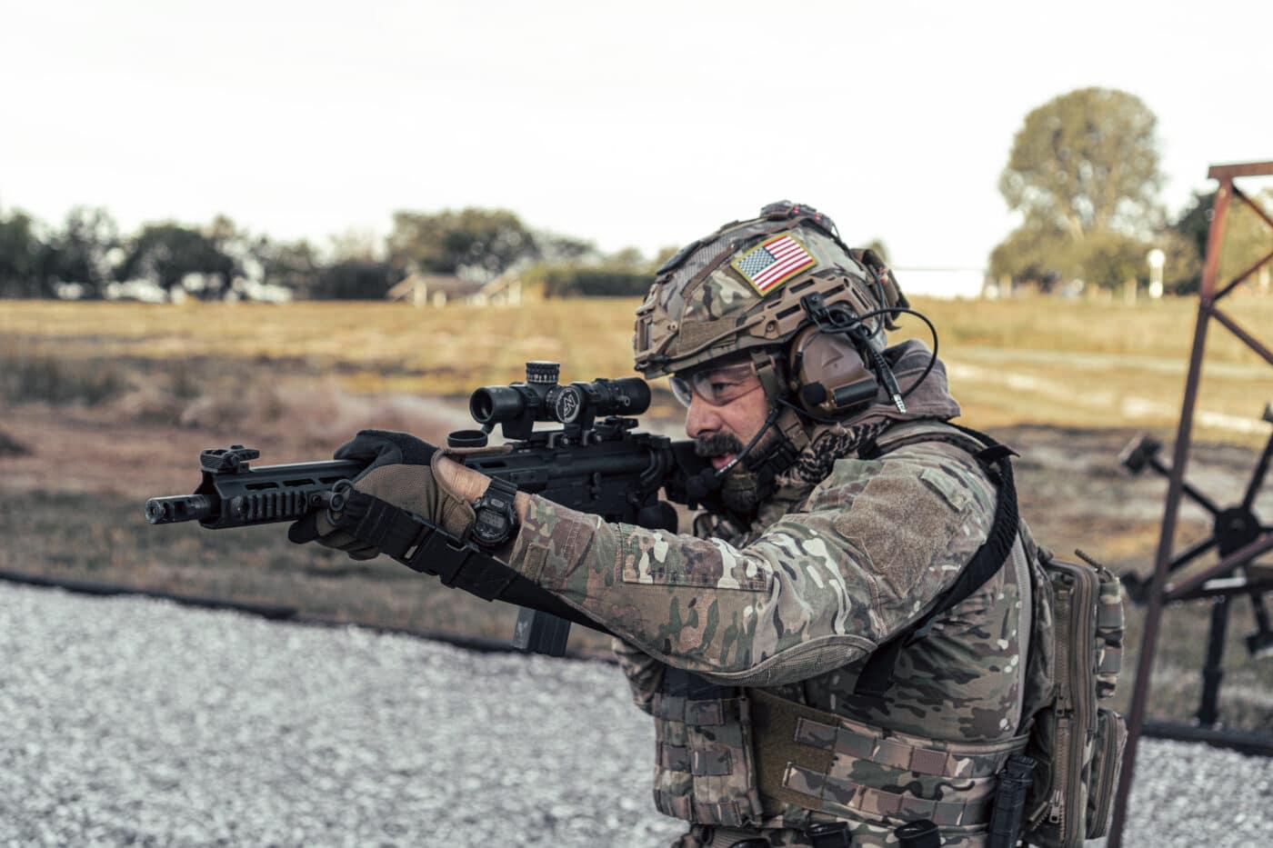 Solider using rifle with Nightforce NX8 1-8x scope