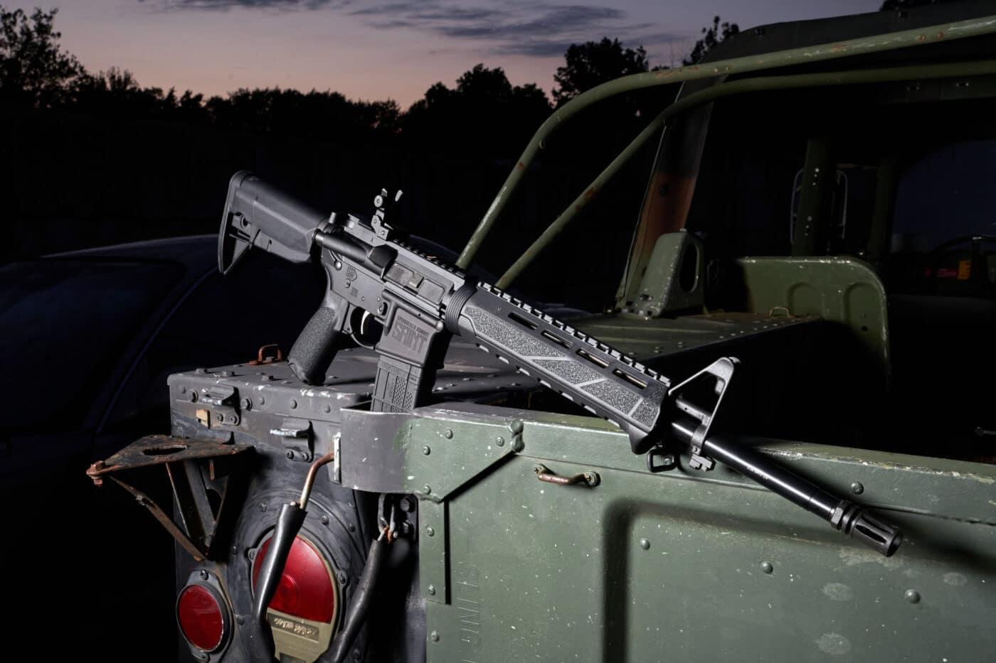 SAINT M-LOK rifle on back of jeep