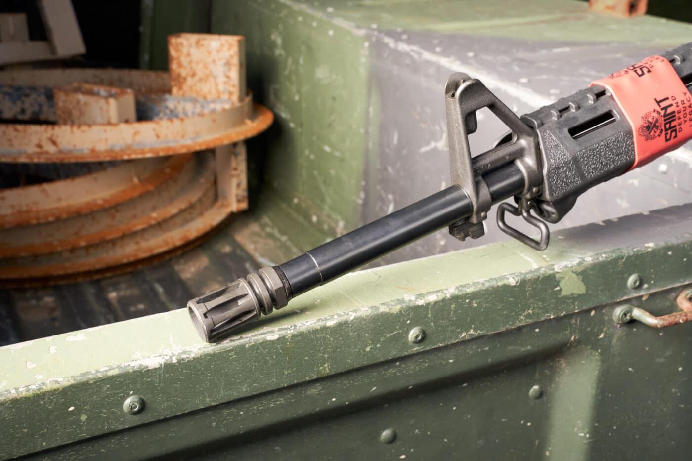 A2 birdcage flash hider on Springfield AR rifle