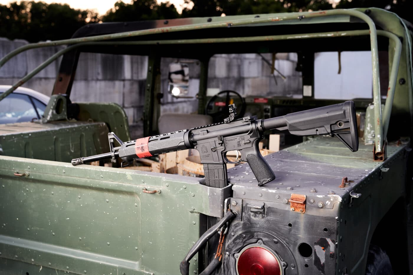 SAINT rifle on back of jeep