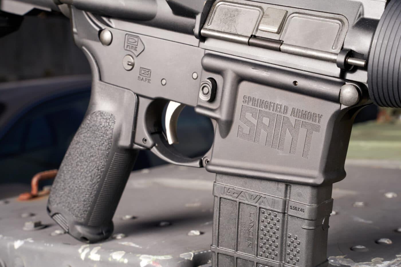 Springfield Armory logo on AR15 SAINT rifle